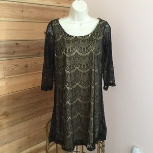Dresses & Skirts - Black & Nude Lace dress